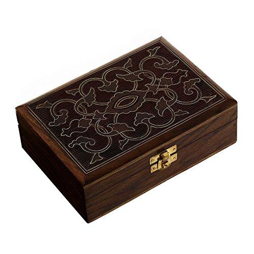 Hashcart Artisan Handcrafted Brass Inlay Work Sheesham Wood Jewellery Box, Brown