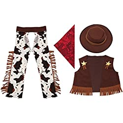 Cowboy Costume for Little Boys' Role Play,Acecharming Boys' Cowboy Costume Outfit Fancy Dress West Rodeo Halloween Party L(US 120-130CM)