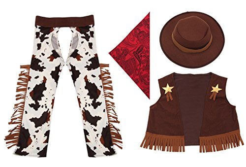Cowboy Costume for Little Boys' Role Play,Acecharming Boys' Cowboy Costume Outfit Fancy Dress West Rodeo Halloween Party XL(US 11-14) (Child Cowboy Chaps)