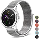 C2D JOY for Garmin Vivoactive 3&Music/Vivomove&HR/Forerunner 645&Music Sport Loop Replacement Bands Woven Nylon Watch Bands No Buckle Needed - Seashell, Small Fits 4.7-6.3in. Wrist