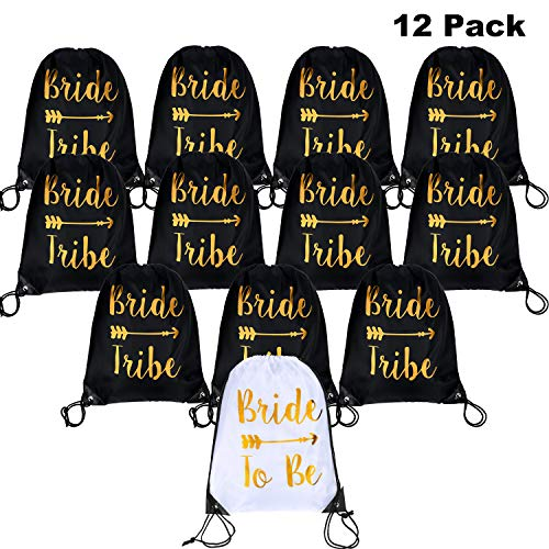 12 Pieces Bride and Bride Tribe Drawstring Bags Wedding Drawstring Gift Bag Bridal Party Favor Bags for Bridesmaids Bridal Party Bridal Shower, 16.5 x 13.4 inch (12 Pack)