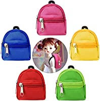 Bageek Doll Backpack Mini Backpack for Dolls 5PCS Backpack for American Girl Doll Accessories Doll Zipper Backpack