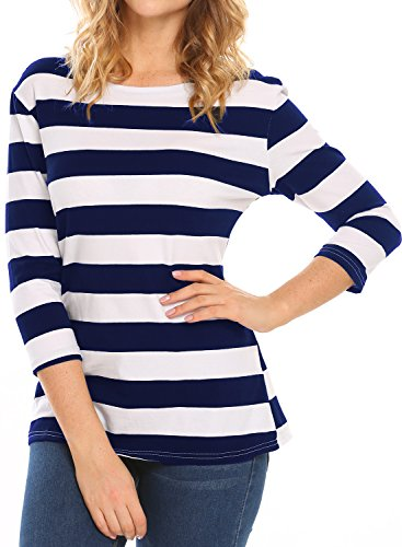 Blue Stripe T-shirt (Halife Women's 3/4 Sleeve Crewneck Striped T-shirt Casual Basic Shirt Tops (XL, Blue & White))