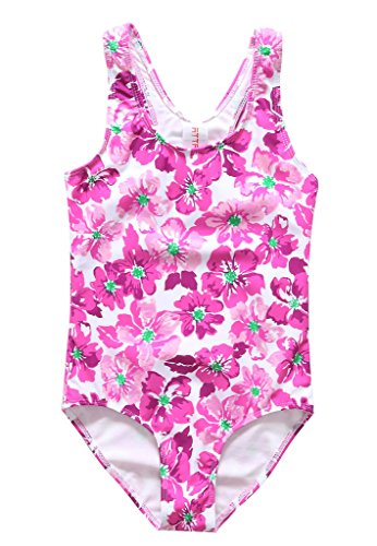 ALove Girl's Floral Printed One Piece Swimming Costume Purple 8