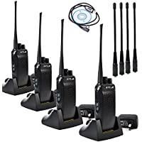 HYS UHF 400-480MHZ 5W High Power 16channels 2 way radio CTCSS/DCS VOX 70CM Handheld Radio with High Gain Replacement Antenna(4packs)