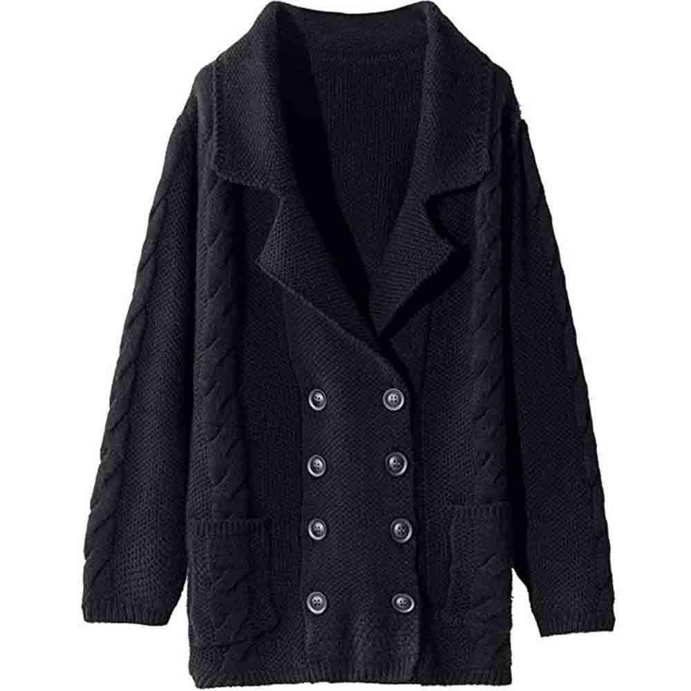 HOSOME Women Loose Knitted Coat Large-Necked Solid Knitting Tops Button Outerwear Black