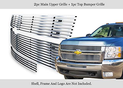 APS Fits 2007-2010 Chevy Silverado 2500HD/3500HD Stainless Billet Grille Combo #N19-C40876C
