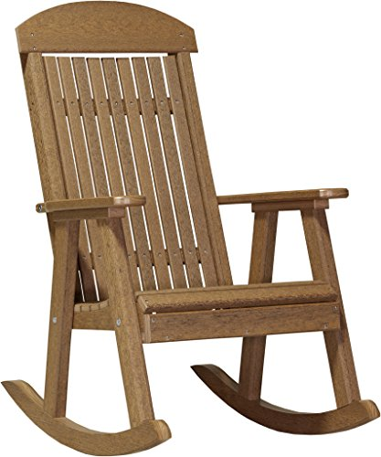 Furniture Barn USA Poly Porch Rocker - Antique Mahogany (Wooden Rocking Chair Ship)
