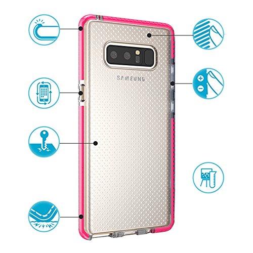 Grandcaser Funda para Samsung Galaxy Note 8,[Tough Armor] Slim Fit Flexible Goma Silicona TPU Gel Estuche Protectora de Claridad Diseño Lunares Textura Cover Duro Antideslizante Vistoso Parachoques -  Transparente Rojo