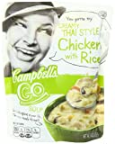 Add spice to your life with Campbell's Go Creamy Thai Style Chicken with Rice Soup. Our creamy-meets-spicy blend of chicken meat, carrots, green chili and red peppers, brown rice, coconut milk and mushrooms is ready-to-serve, flavor locked fo...