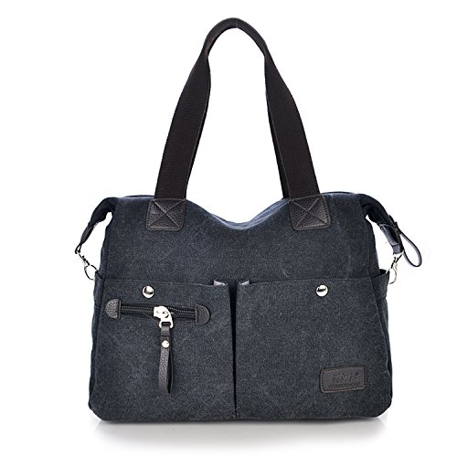 Outreo Vintage Bolsos Bandolera Mujer Bolso de Lona Marca Casual Messenger Bag Colegio universidad Grandes Bolsos Originales de Mano Negro