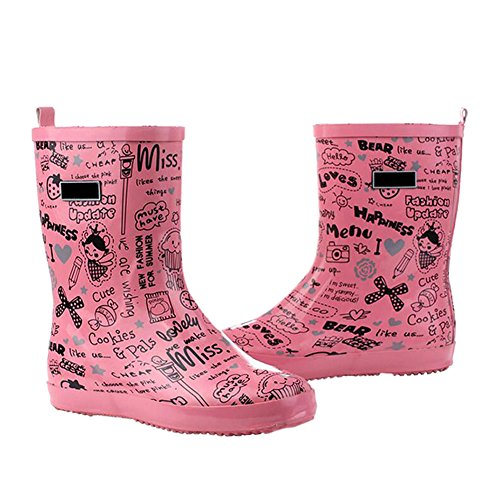 Haodasi Ladies Fashion Waterproof Rainboots Womens Non-Slip Rubber Snow Boots Rain Shoes Water Shoes Winter Boots Pink Hp2RliG4B
