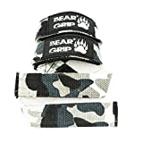 BEAR GRIP Straps - Premium Neoprene padded Heavy Duty double stitched weight lifting gym straps, Gel grip, 100% cotton, (without Gel Grip) (Camo)