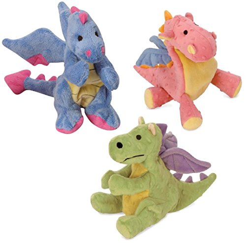 GoDog Dragons with Chew Guard Technology Plush Squeaker Dog Toys: 1-Periwinkle Multi-Color, 1-Coral Multi-Color, and 1-Lime Baby ()