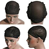 Young Hair Stretch Mesh Net Glueless Wig Cap Adjustable Strap Wig Caps Weaving Caps For Wigs(3pcs/lot, Black Color)