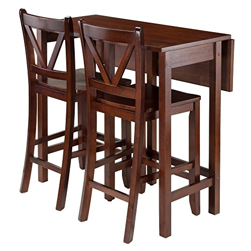Winsome 94355 Lynnwood Collection 3 Piece Drop Leaf Table with 2 Counter V-Back Stools, Brown