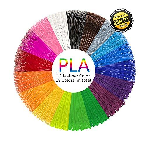 PLA 3D Pen Filament Refills(18 Colors, 10 Feet Each) - PHANED 3D Printing Pen Filament 1.75mm Total 180 Feet Lengths for MYNT3D, Scribbler V3, Soyan, 7TECH, LIX, Manve, Sunlu 3D Pen …