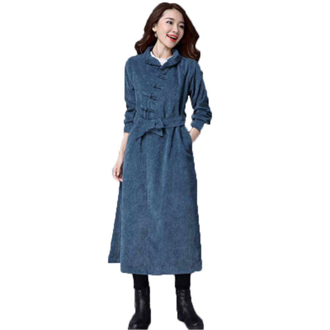 bluee Spring Autumn Long Trench Coats Ethnic Style Women's Loose Corduroy Belt Disc Button Windbreaker Outerwear