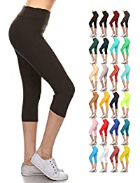 Higher Waist Womens Buttery Soft Solid Yoga Capri Leggings - Many Colors
