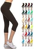 Leggings Depot Women's Yoga Gym High Waist Reg/Plus Solid and Printed Workout Capri Leggings Pants 16+Colors (Black, Plus Size (Size L-2X / Size 12-20))