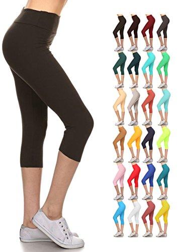 6a85323b6b Leggings Depot Women's Yoga Gym High Waist Reg/Plus Solid and Printed  Workout Capri Leggings Pants 16+Colors