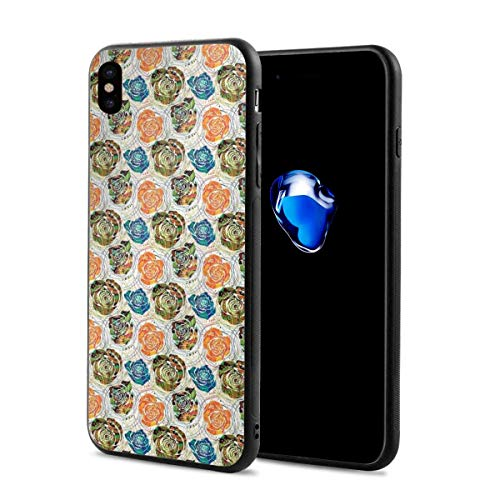 Phone Case Cover for iPhone X XS,Paisley Inspired Mandala Built-in Method Stencil Rose Figures and Vortex Lines,Compatible with iPhone X/XS 5.8