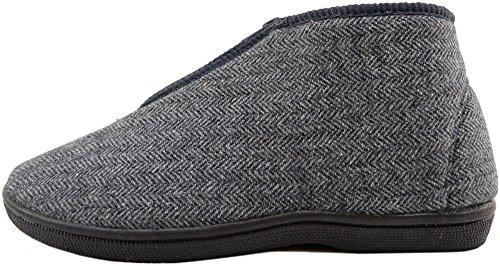 Slippers Up Shoes Boots Style Mens Herringbone Gents Indoor Grey Zip qnpYIw