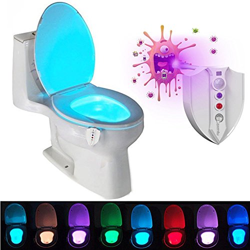 Caxmtu 8 Colors LED Toilet Nightlight Motion Activated Light Sensitive Dusk to Dawn Battery-operated Lamp