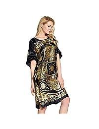 AICONL Imitation Silk Nightgown Summer Bathrobe Dragon Print Pajamas for Women Black