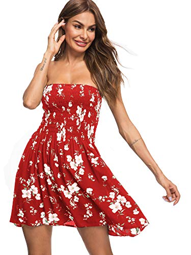 just quella Women's Summer Cover Up Strapless Dresses Solid Tube Top Beach Mini Dress (S, Red Flower)