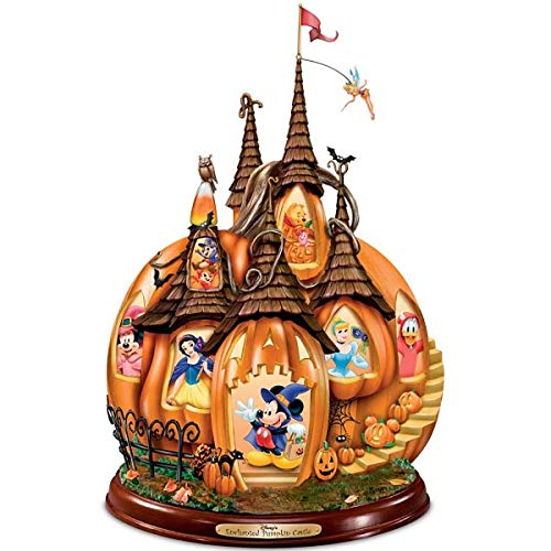 Disney's Enchanted Pumpkin Castle Illuminated Halloween Sculpture by The Bradford Exchange]()