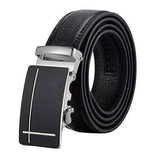 Automatic Belt - Tiitc Men's Genuine Leather Ratchet Dress Belt with Automatic Buckle (Black, 35mm Wide) (Silver Black Buckle-02)