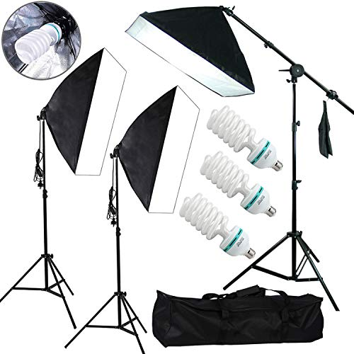 YISITONG Photography Continuous Softbox Lighting Kit 20x 28 Professional Photo Studio Equipment with 3X 25W LED E26 Socket 5500K Video Lighting Bulb for Filming Portraits Shoot