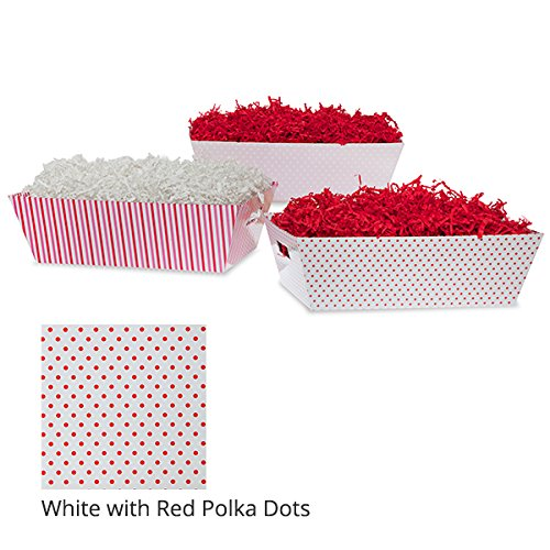 Large Valentine Gift Tray Basket - White with Red Polka Dots (Tray Dots Polka White)