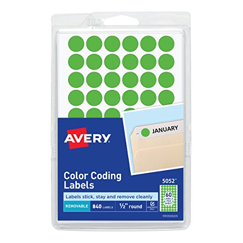 Avery Removable Color Coding Labels, 0.5 Inches, Round, Pack of 840 (05052) ()