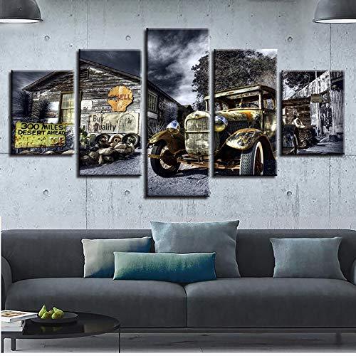 JESC Canvas Poster Wall Art Printed 5 Pieces Antique Hot Rod Vintage Car Paintings Landscape Pictures Modular Living Room Decor ()