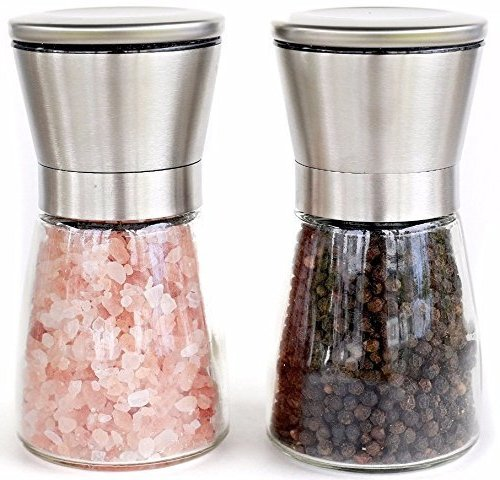 Hot Sale! Premium Hourglass Style Salt and Pepper Grinder Set by Simple Kitchen Products. (Hourglass Simple)