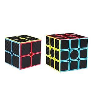 Coogam Zcube Carbon Fiber Cube Bundle 2x2 3x3 Speed Cube Set Z Cube Magic Puzzle Toy Pack Kids and Adults Challenge