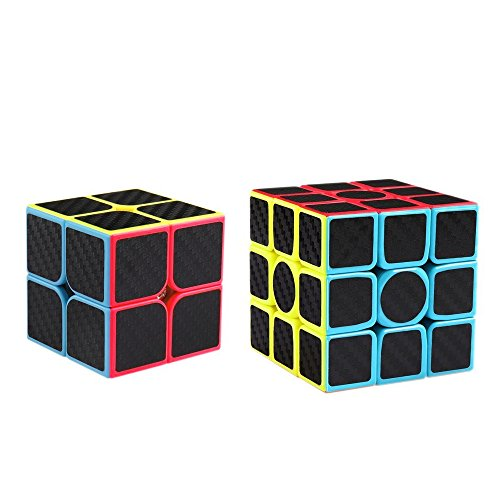 (Coogam Zcube Carbon Fiber Cube Bundle 2x2 3x3 Speed Cube Set Z Cube Magic Puzzle Toy Pack Gift for Kids and Adults Challenge)