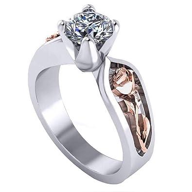 e1496a5a6c Amazon.com: super1798 Shiny Rhinestone Rose Flower Finger Ring Engagement  Women Jewelry Decor: Jewelry
