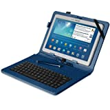 "Fosmon (OPUS KEYBOARD) PU Leather Stand Case for 10"" Tablets with MICRO USB Keyboard including Google Nexus 10, Xperia Z/Z2 Tablet, Galaxy Note 10.1 ('14 ed), Galaxy Tab Pro 10.1/Tab 3 10.1, Yoga Tablet 10 HD+, ICONIA A3, LG G Pad 10.1 (Dark Blue)"