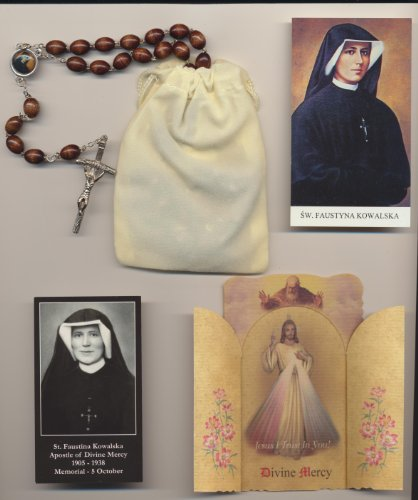 (St Saint Faustina Relic Rosary Brown, Two Holy Cards, Velour Bag and Divine Mercy Shrine Pamphlet)