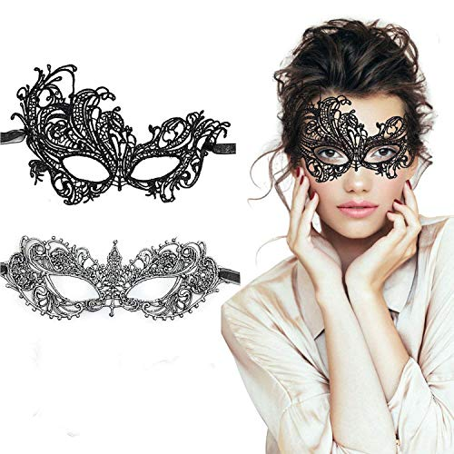 Pretty Masquerade Masks (TreatMe Masquerade Mask - 2 Pack Women Venetian Mask Pretty Elegant Lady Lace Masquerade Halloween Mardi Gras)