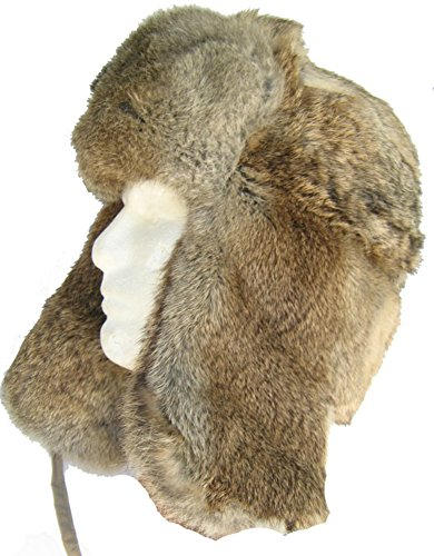 Russian Rabbit Fur Trooper Hat Ear Flaps Brown Trapper: L