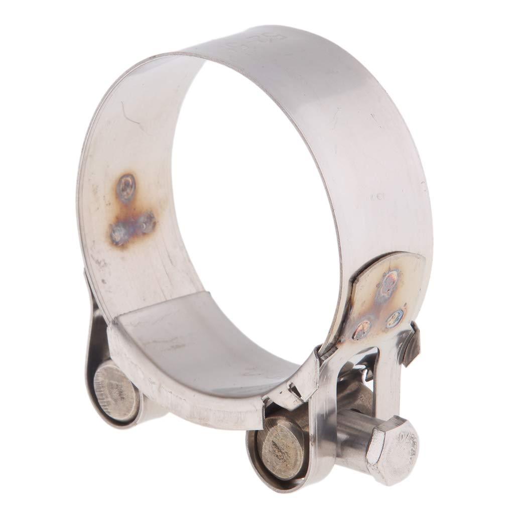 Sharplace 1 Par Motocicleta Exhaust Muffler Silenciador Montaje de 52-55mm 44-47 Bracket Hanger Clamp Strap de color plata
