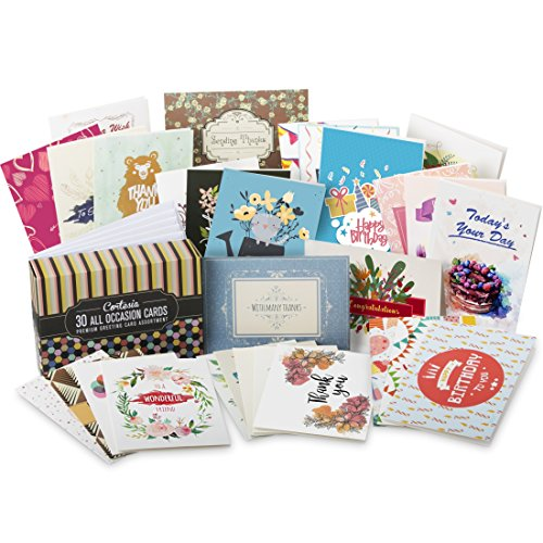 cortesia all occasion premium greeting cards assortment 30 unique designs box set incl envelopes birthday cards thank you notes thinking of you - Discount Greeting Cards