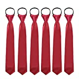 Toddlers Boys Zipper Ties Necktie - 6PCS Solid Color Adjustable Tie for Party (Wine Red)
