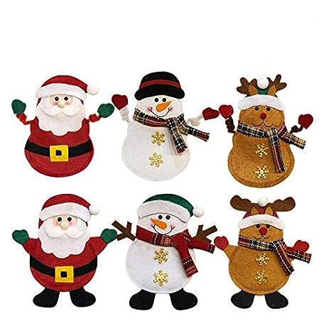 Christmas Decoration Santa Decor Knifes Forks Bag, 6 PCS Kitchen Suit Silverware Holders Pockets Cutlery Set Santa Snowman Elk Xmas Character for Xmas Holiday Party Christmas Party