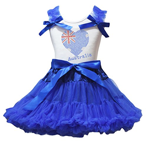 Australia Dress Up (Petitebella Australia Heart White Shirt Ribbon Royal Blue Skirt Set 1-8y (3-4 Years))
