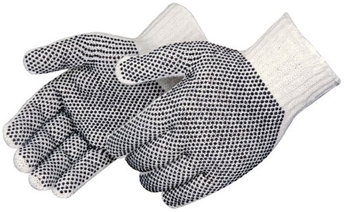 Liberty 4715Q Cotton//Polyester Plain Seamless Knit Glove with Two-Sided Black PVC Dots Liberty Glove /& Safety 4715Q//M Natural White Medium Pack of 12